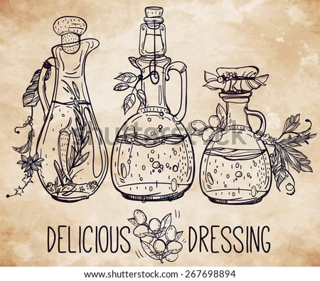 Vector illustration of elegant beautiful vintage bottles various dressings and seasonings. Isolated chalk on aged card. Hand drawn ingredients set. Decorative linear art of sauces. Menu deli.   - stock vector