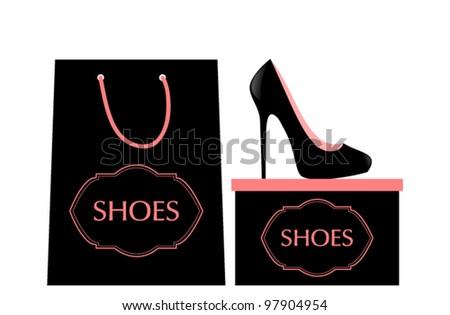 Vector illustration of elegant high heels, shopping bag and box. - stock vector