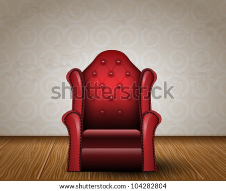 Vector illustration of elegant, vintage, detailed armchair in room - stock vector