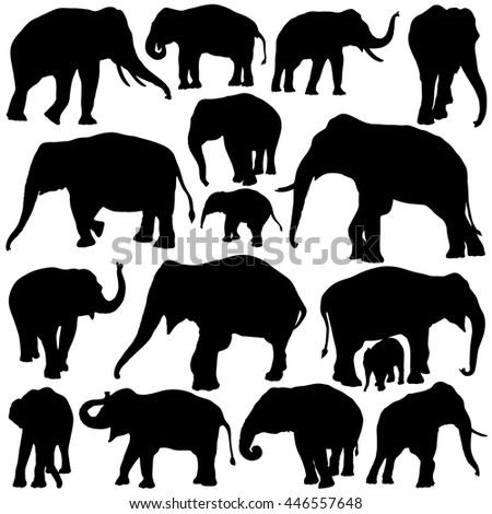Vector illustration of Elephant silhouettes isolated on white background.  - stock vector