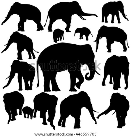 Vector illustration of Elephant silhouettes isolated on white background.
