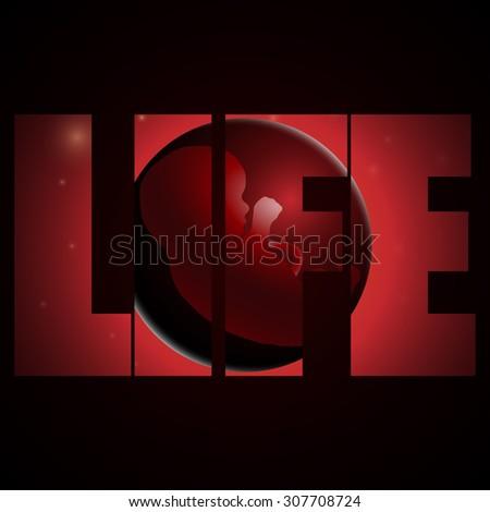 vector illustration of embryo, germ design, baby, fetus concept, nucleus, life, logo, life logo - stock vector