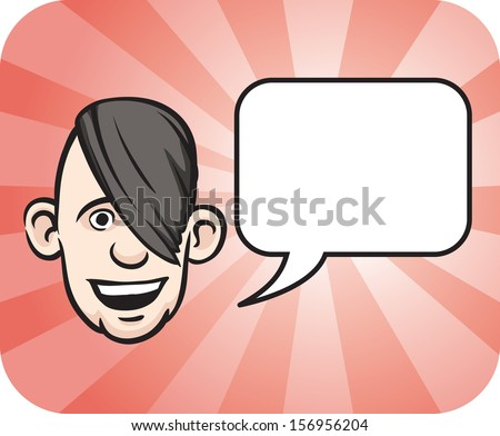 Vector illustration of emo face with speech bubble. Easy-edit layered vector EPS10 file scalable to any size without quality loss. High resolution raster JPG file is included. - stock vector