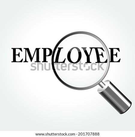 Vector illustration of employee concept with magnifying