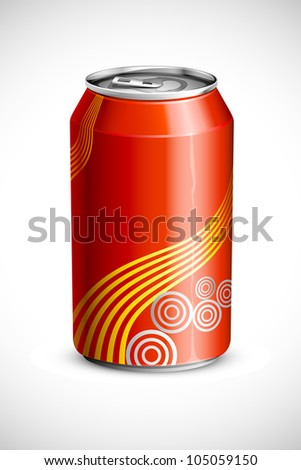 vector illustration of empty cold drink can against abstract background - stock vector