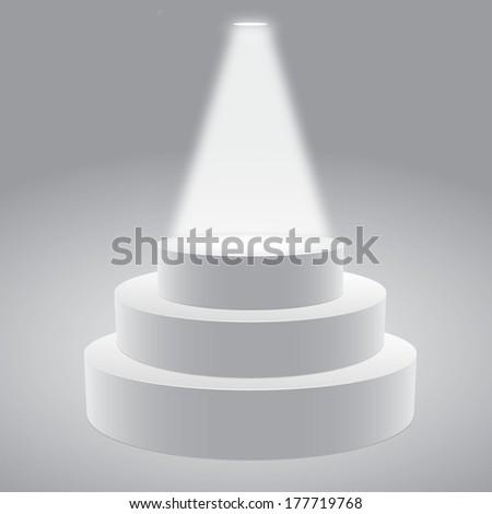 Vector illustration of  empty  3-D white podium on gray background - stock vector