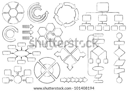 vector illustration of empty flow chart diagram outline - stock vector