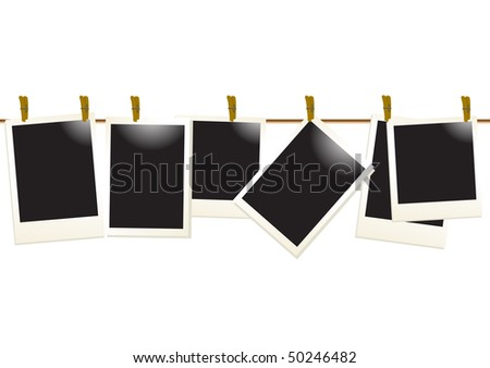 Vector illustration of empty photos on a rope - stock vector