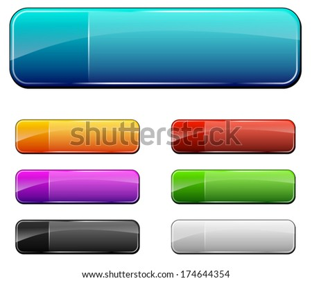 vector illustration of empty web buttons on white background - stock vector
