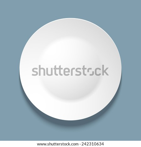 Vector illustration of empty white plate. top view. on blue background. - stock vector