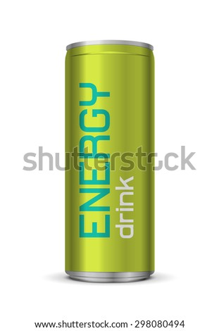 Vector illustration of energy drink can, isolated on white background  - stock vector