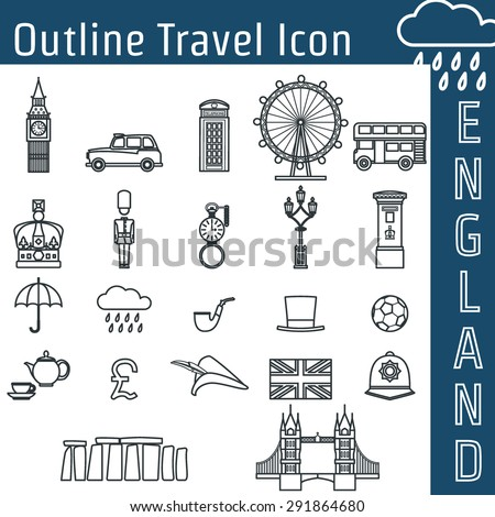 Vector Illustration of England Icon Outline for Design, Website, Background, Banner. Travel Britain Logo Landmark Silhouette  Element Template for Tourism Flyer. Big Ben, London Eye, Bus, Taxi, Crown