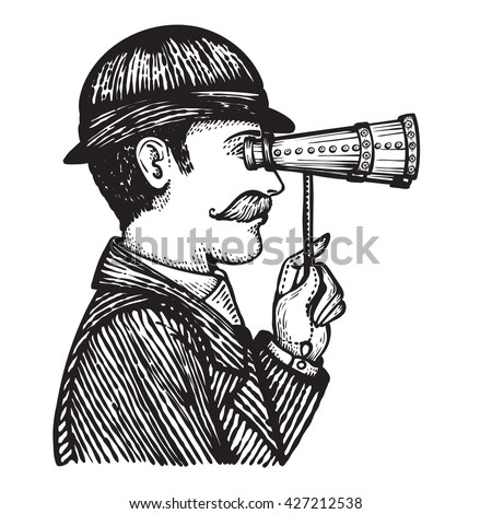Vector illustration of engraved vintage man looking through binoculars - hand drawn illustration isolated on white  - stock vector