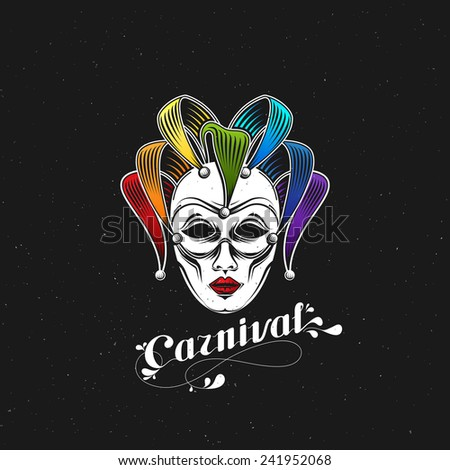 vector illustration of engraving rainbow carnival mask emblem and ornate lettering logo. Masquerade symbol - stock vector
