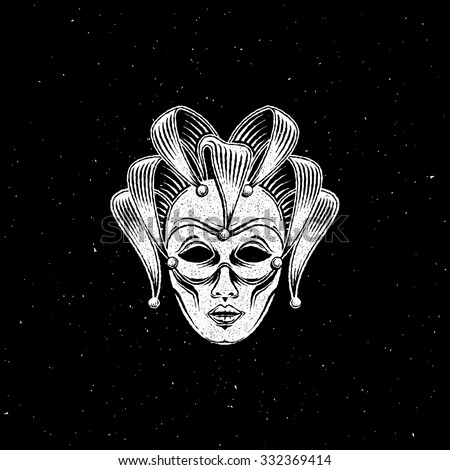 vector illustration of engraving venetian carnival mask or jester emblem on black background. carnival symbol - stock vector