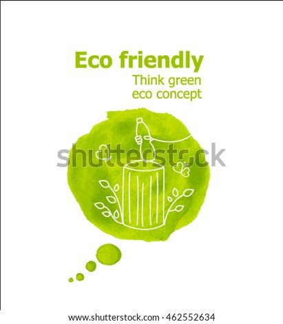 Vector Illustration of environmentally friendly planet. Speech bubbles from watercolor stain with recycle bin, isolated on white background. Think Green. Eco Concept