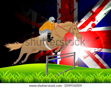 Vector Illustration of Equestrian sport horse and rider on a green grass field. EPS10. - stock vector