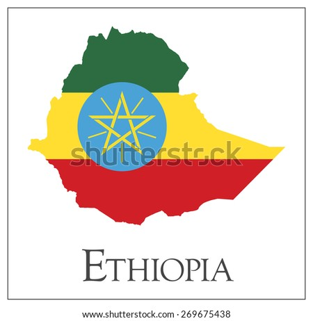 Vector illustration of Ethiopia flag map. Used transparency. - stock vector