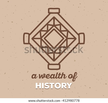 Vector illustration of ethnic tribal amulet sigh with white text on light brown sand color texture  background. Hand drawn line art design. Ethnic amulet. Tribal amulet. Vector amulet line art. - stock vector