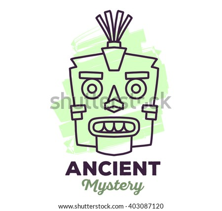 Vector illustration of ethnic tribal green color mask with text on white background. Hand drawn line art design. Ethnic mask. Tribal mask. Vector mask. Mask eps. Mask line art. Ancient mask. - stock vector