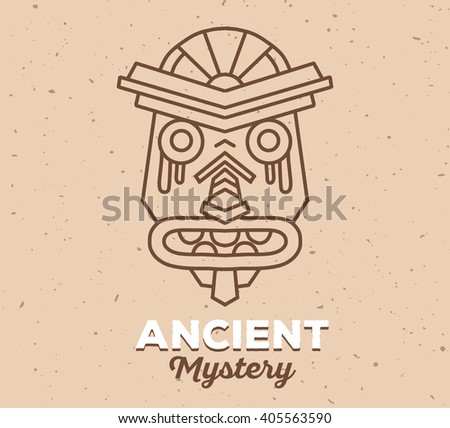 Vector illustration of ethnic tribal mask with white text on light brown color sand texture background. Hand drawn line art design. Ethnic mask. Tribal mask. Vector mask. Mask eps. Mask line art. - stock vector