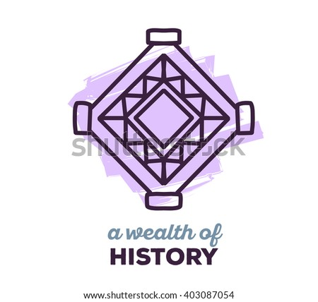 Vector illustration of ethnic tribal purple color amulet sigh with text on white background. Hand drawn line art design. Ethnic amulet. Tribal amulet. Vector amulet. Amulet eps. Amulet line art.  - stock vector