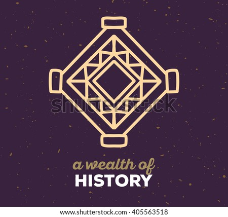 Vector illustration of ethnic tribal purple color amulet sigh with white text on dark sand texture background. Hand drawn line art design. Ethnic amulet. Tribal amulet. Vector amulet. Amulet line art. - stock vector