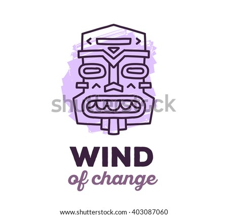 Vector illustration of ethnic tribal purple color mask with text on white background. Hand drawn line art design. Ethnic mask. Tribal mask. Vector mask. Mask eps. Mask line art. Ancient mask. - stock vector