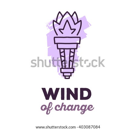 Vector illustration of ethnic tribal purple color torch with text on white background. Hand drawn line art design. Ethnic torch. Tribal torch. Vector torch. Flame eps. Torch line art. Ancient torch. - stock vector