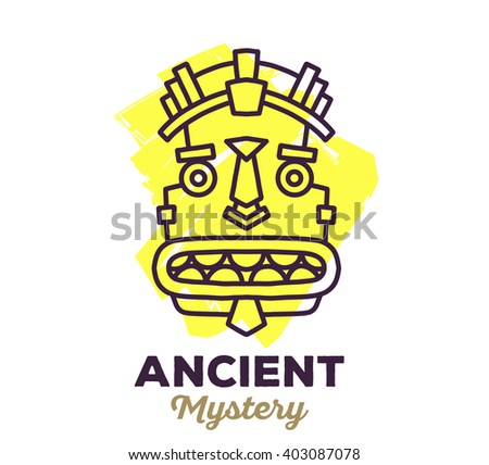Vector illustration of ethnic tribal yellow color mask with text on white background. Hand drawn line art design. Ethnic mask. Tribal mask. Vector mask. Mask eps. Mask line art. Ancient mask. - stock vector