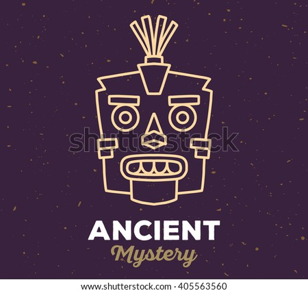 Vector illustration of ethnic tribal yellow color mask with white text on dark sand texture background. Hand drawn line art design.  - stock vector