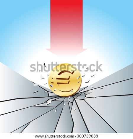Vector illustration of Euro gold coin smashed to the cracked ground with red arrow. - stock vector