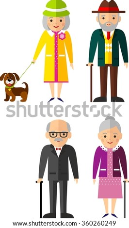 Attirant Vector Illustration Of European Adult Man And Woman Set Of European Old  People In Different Situations