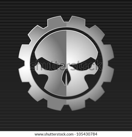 Vector illustration of evil metal skull over gray background - stock vector
