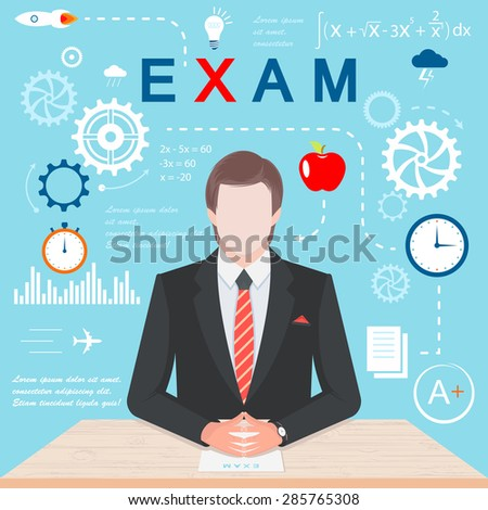 Vector illustration of examination. Infographics in the form of gears and thought concepts. Student at the table with test - Stock Vector - stock vector
