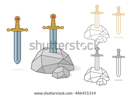Vector illustration of excalibur theme sword and stone as colored and outlined icon, avatar or symbol over white background