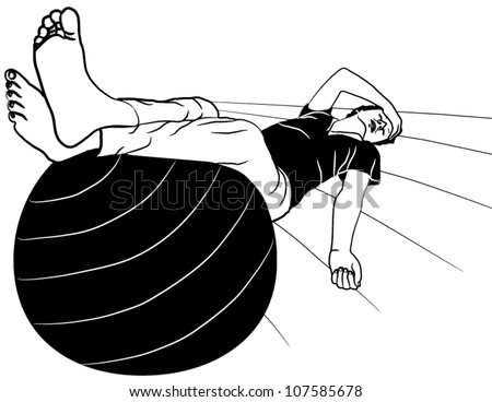 Vector Illustration of Exhausted young men resting with legs up on gym ball - stock vector