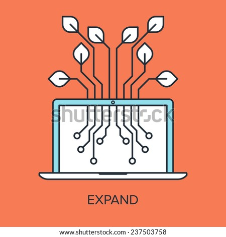 Vector illustration of expand flat line design concept. - stock vector