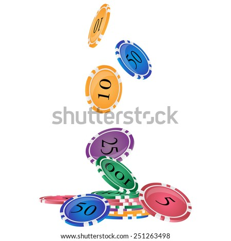 Vector illustration of falling color casino chips isolated on white background. - stock vector