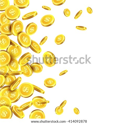 Vector Illustration of falling golden coins. Flying golden coins. Vector design of falling golden coins. Money vector illustration isolated on white. Coins  background. - stock vector