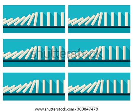Vector illustration of falling white dominoes animation sprite with blue background  - stock vector