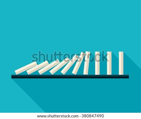 Vector illustration of falling white dominoes on blue background  - stock vector