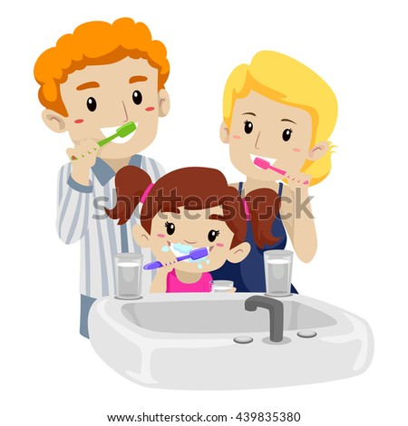Vector Illustration of Family Brushing their Teeth