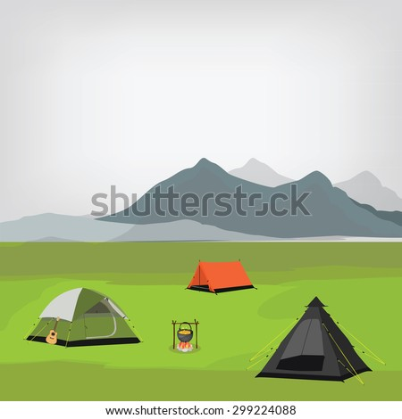Vector illustration of family camping with three camping tents and campfire. Summer camp. Mountain background, landscape. Camp site - stock vector