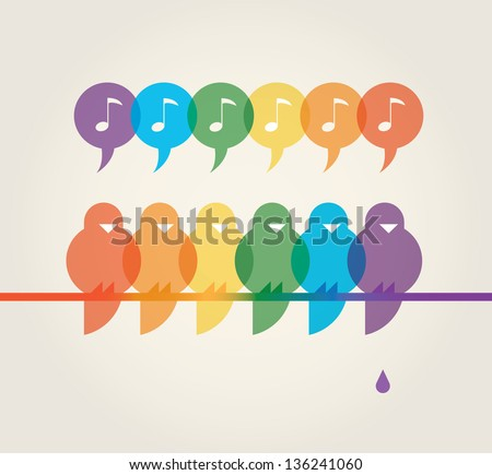 Vector illustration of family of cute rainbow color singing birds on a tree with poop