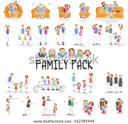 vector illustration of family pack with character doing different activities - stock vector