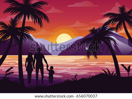 Vector illustration of family silhouette with mother, father and kid on the beach under the palm tree on sunset background and mountains in flat style.