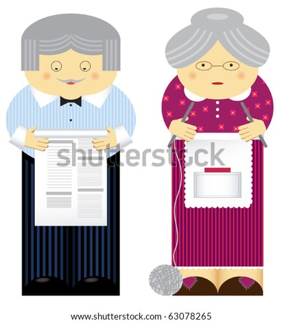 Vector illustration of family theme. Grandparents - stock vector