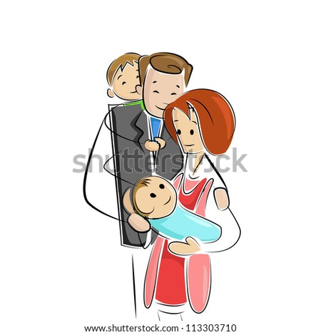 vector illustration of family welcoming new born baby - stock vector