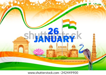 vector illustration of famous monument on India background - stock vector